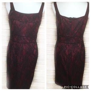 Adrienna Papell red w black lace dress SZ 8